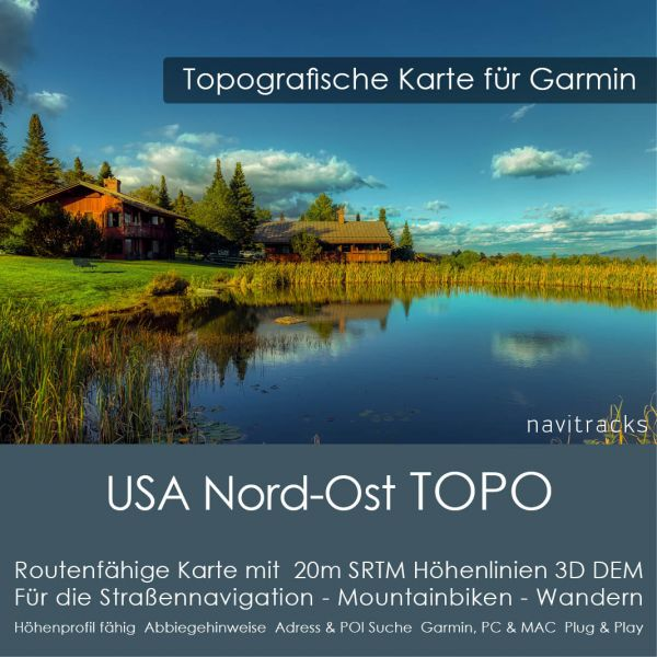 USA Nord-Ost Topo GPS Karte Garmin 20m SRTM Höhelinien (Download)