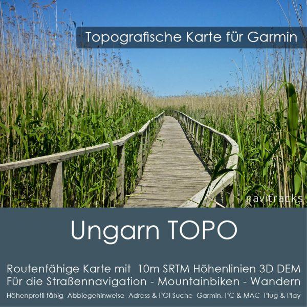 Topo Karte Ungarn (Europa) GPS Karte Garmin mit 10m SRTM Höhelinien (Download)
