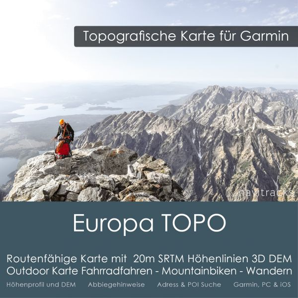 Europa Topo GPS Karte Garmin 25m SRTM Höhenlinien (16GB microSD Karte)