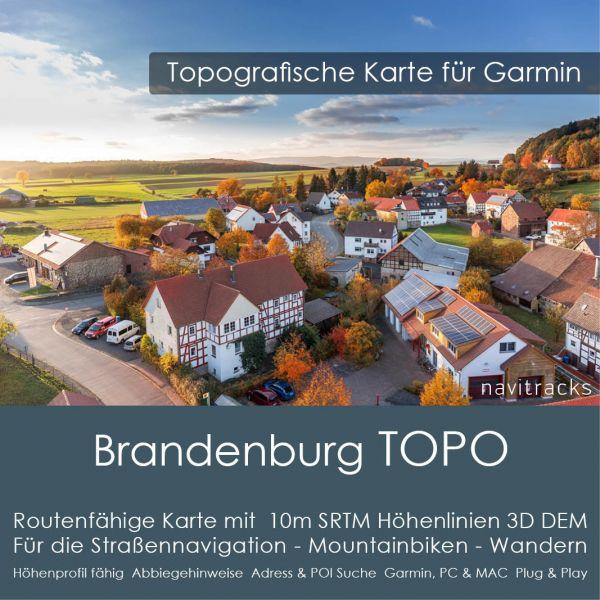 Brandenburg Topo GPS Karte Garmin mit 10m SRTM Höhenlinien (Download)