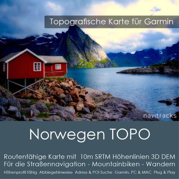 Norwegen Topo GPS Karte für Garmin mit 10m SRTM Höhenlinien (4GB micro SD Karte)
