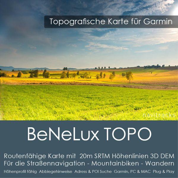 Belgien Niederlande Luxemburg Topo GPS Karte Garmin mit 20m SRTM Höhenlinien (Download)