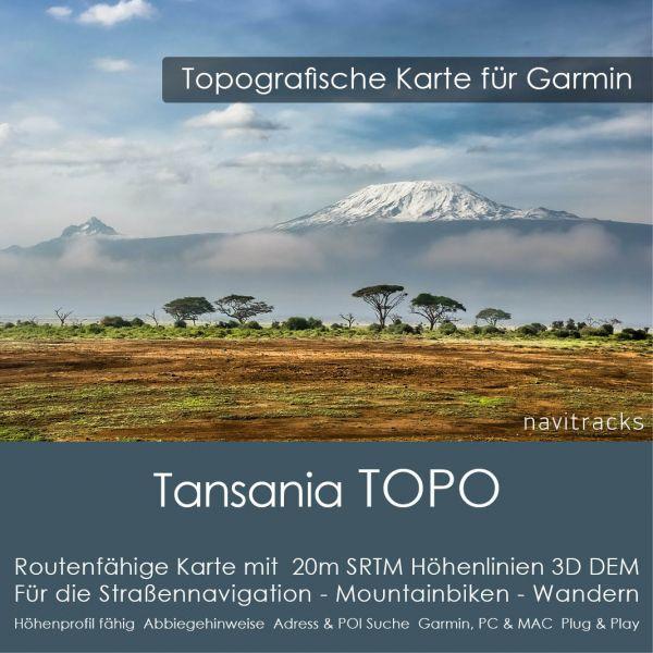 Topo Karte Tansania (Afrika) GPS Karte Garmin mit 40m SRTM Höhelinien (Download)