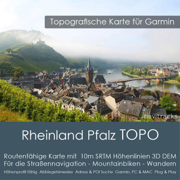 Rheinland Pfalz Topo GPS Karte Garmin mit 20m SRTM Höhenlinien (Download)