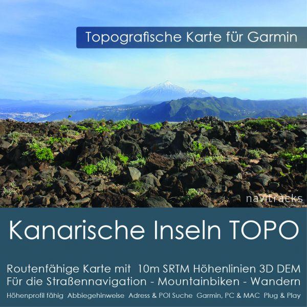 Kanarische Inseln Topo GPS Karte Garmin mit 10m SRTM Höhelinien (Download)