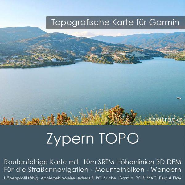Zypern Topo GPS Karte für Garmin mit 20m SRTM Höhelinien (Download)