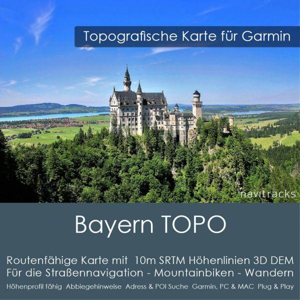 Bayern Topo GPS Karte Garmin mit 10m SRTM Höhenlinien (Download)