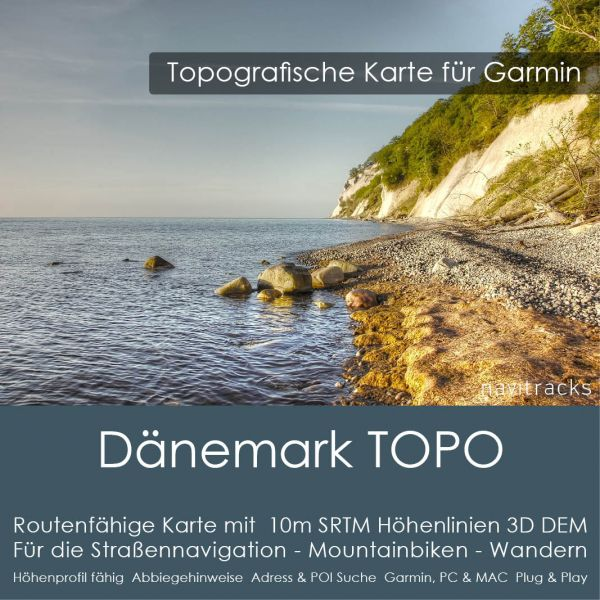 Dänemark Topo GPS Karte Garmin. 10m SRTM Höhenlinien (4GB microSD Karte)