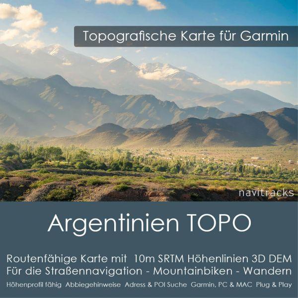 Topo Karte Argentinien (Südamerika) GPS Karte Garmin mit 20m SRTM Höhelinien (Download)