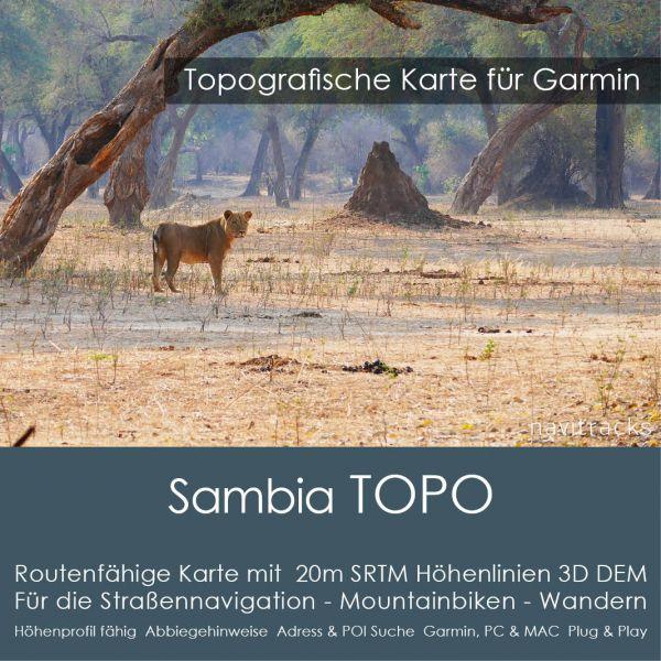 Topo Karte Sambia (Afrika) GPS Karte Garmin mit 20m SRTM Höhelinien (Download)
