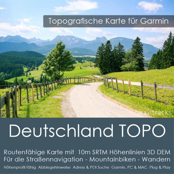 Deutschland Topo GPS Karte für Garmin. 10m SRTM Höhenlinien (8GB micro SD Karte)