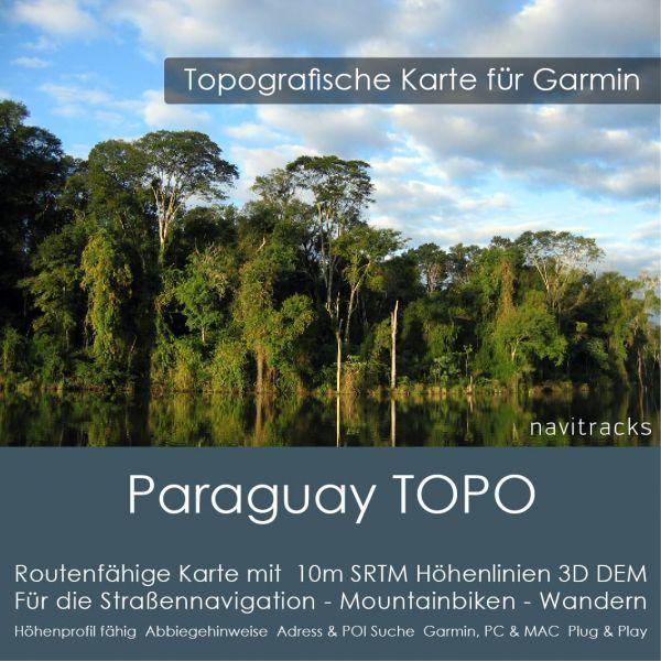 Paraguay Topo GPS Karte Garmin. 10m SRTM Höhenlinien (4GB microSD Karte)