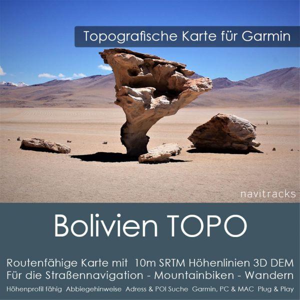 Bolivien Topo GPS Karte Garmin. 10m SRTM Höhenlinien (4GB microSD Karte)