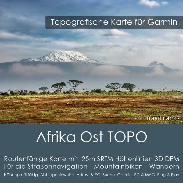 Afrika Ost Topo GPS Karte Garmin 25m DEM SRTM Höhelinien (Download)