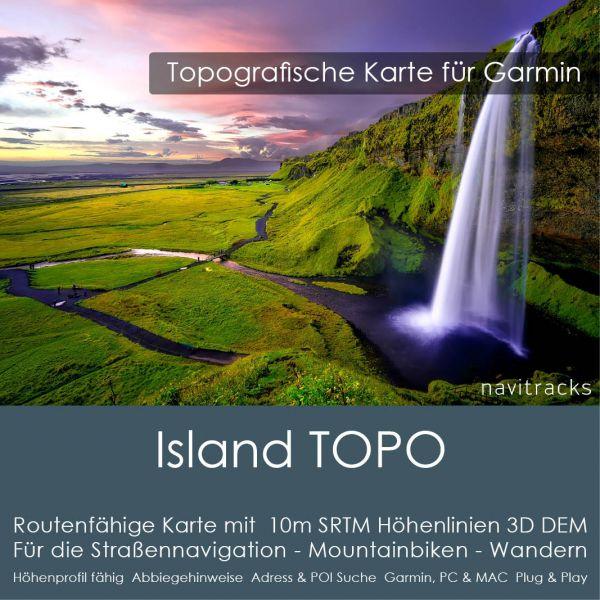 Island Topo GPS Karte für Garmin mit 10m SRTM Höhelinien (4GB micro SD Karte)