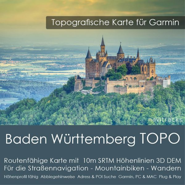 Baden Württemberg Topo GPS Karte Garmin mit 20m SRTM Höhenlinien (Download)
