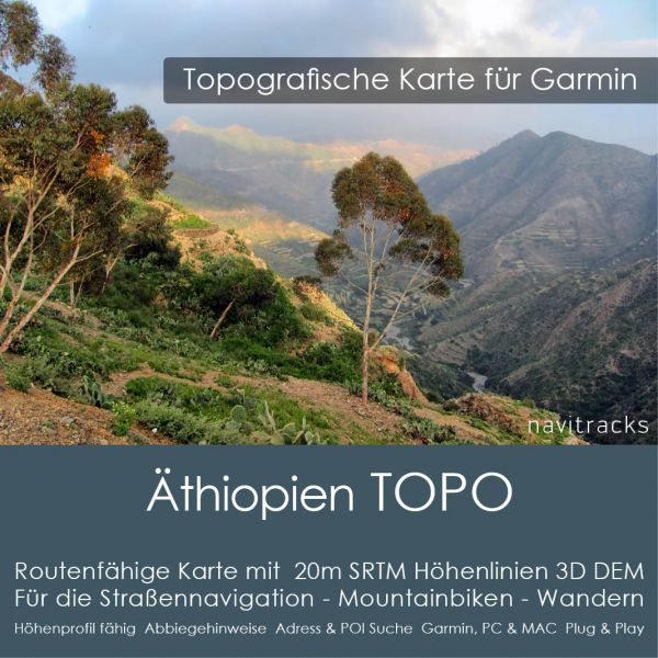 Topo Karte Äthiopien (Afrika) GPS Karte Garmin mit 20m SRTM Höhelinien (Download)
