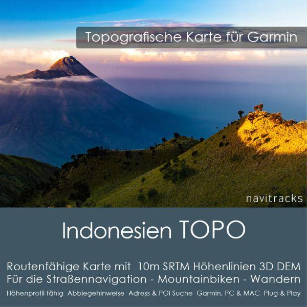 Topo Karte Indonesien (Asien) GPS Karte Garmin mit 10m SRTM DEM Höhelinien (Download)