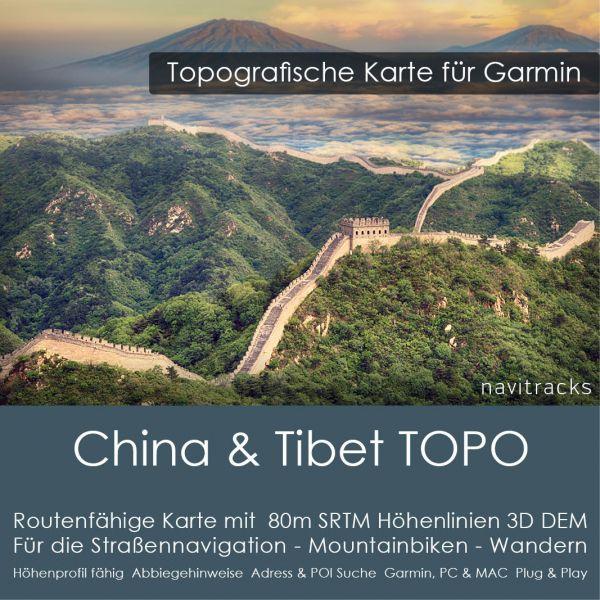 Topo Karte China & Tibet (Asien) GPS Karte Garmin mit 80m SRTM DEM Höhelinien (Download)
