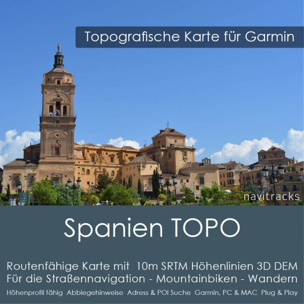 Spanien Topo GPS Karte Garmin. 10m SRTM Höhenlinien 4GB micro SD Karte