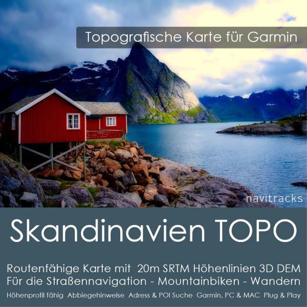 Skandinavien Topo GPS Karte Garmin. 20m SRTM Höhenlinien 8GB micro SD Karte