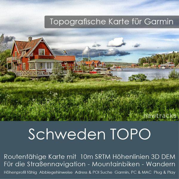 Schweden Topo GPS Karte Garmin mit 10m SRTM Höhelinien (Download)