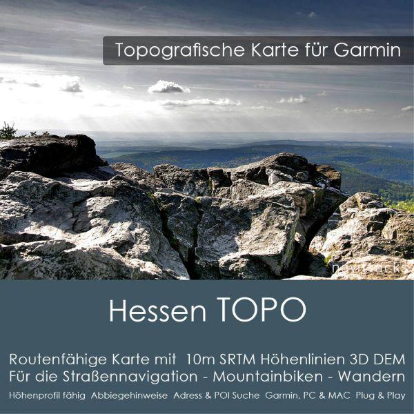 Hessen Topo GPS Karte Garmin mit 25m SRTM Höhenlinien (Download)