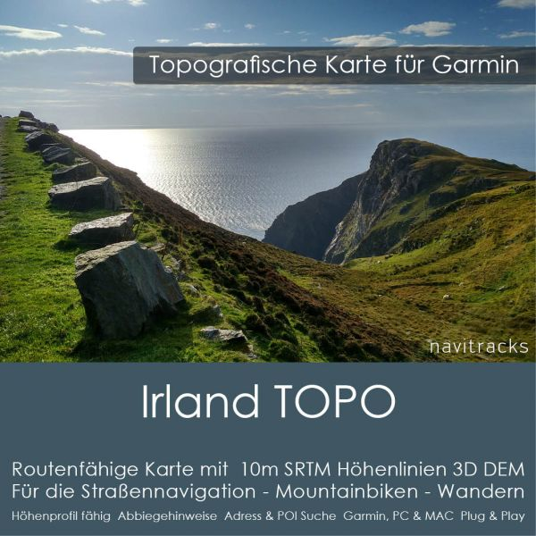 Irland & Nordirland Topo GPS Karte Garmin. 10m SRTM Höhenlinien (4GB microSD Karte)