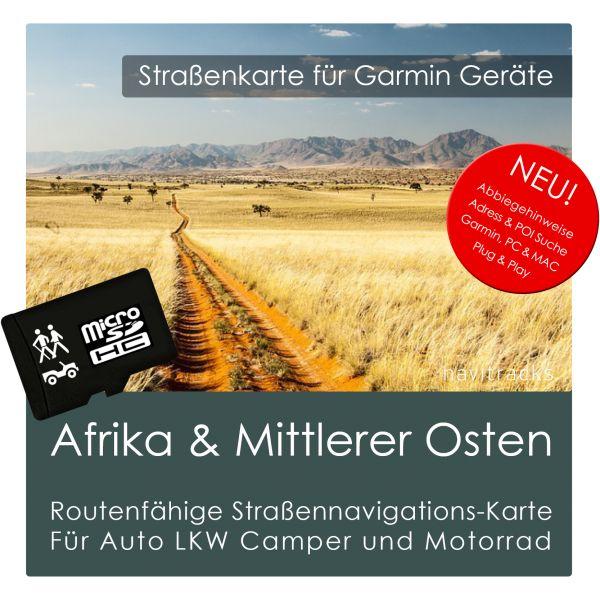 Afrika & Mittlerer Osten mit Südeuropa GPS Strassenkarte Garmin (8GB micro SD Karte)