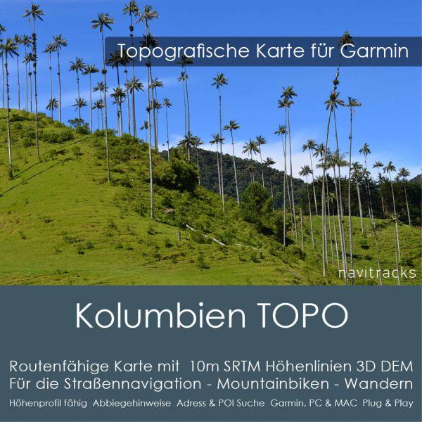 Kolumbien Topo GPS Karte Garmin 10m SRTM Höhenlinien (4GB microSD Karte)