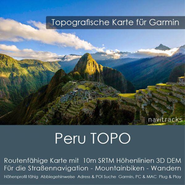 Peru Topo GPS Karte Garmin. 10m SRTM Höhenlinien (8GB microSD Karte)
