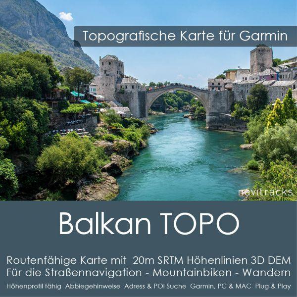 Topo Karte Balkan (Europa) GPS Karte Garmin mit 20m SRTM Höhelinien (Download)