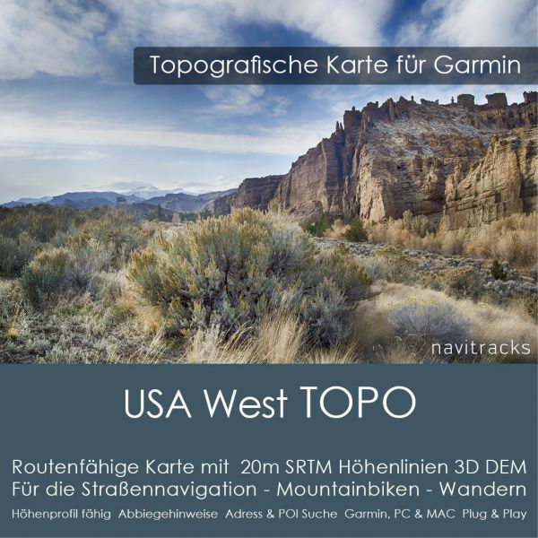 USA West Topo GPS Karte Garmin 20m SRTM Höhelinien (Download)