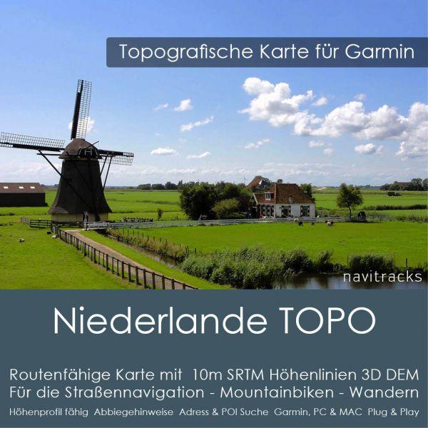 Niederlande Topo GPS Karte für Garmin mit 10m SRTM Höhenlinien (4GB micro SD Karte)