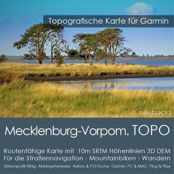 Mecklenburg-Vorpommern Topo GPS Karte Garmin mit 10m SRTM Höhenlinien (Download)