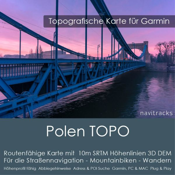 Polen Topo GPS Karte Garmin. 10m SRTM Höhenlinien (4GB microSD Karte)