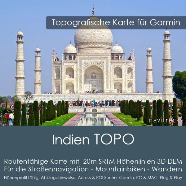Topo Karte Indien (Asien) GPS Karte Garmin mit 40m SRTM Höhelinien (Download)