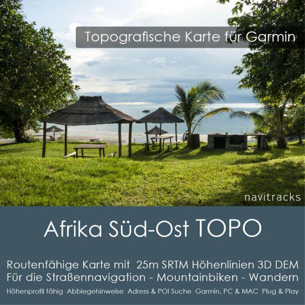 Afrika-Süd-Ost Topo GPS Karte Garmin 25m SRTM Höhelinien (Download)
