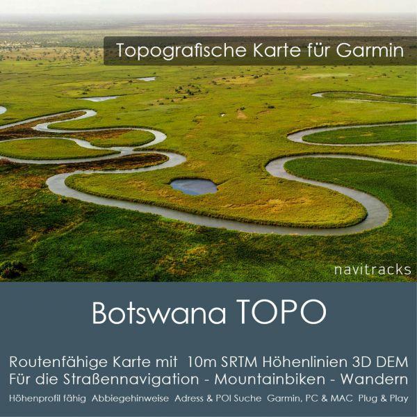 Topo Karte Botswana (Afrika) GPS Karte Garmin mit 10m SRTM DEM Höhelinien (Download)
