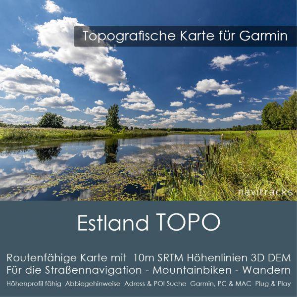 Estland Topo GPS Karte Garmin 10m SRTM Höhelinien (Download)