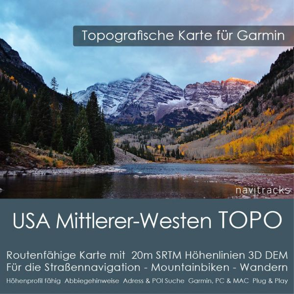 USA Mittlerer-Westen Topo GPS Karte Garmin (Download)