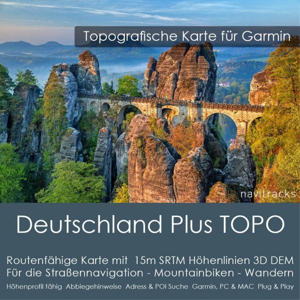Deutschland PLUS Topo GPS Karte Garmin mit 10m SRTM Höhenlinien (Download)