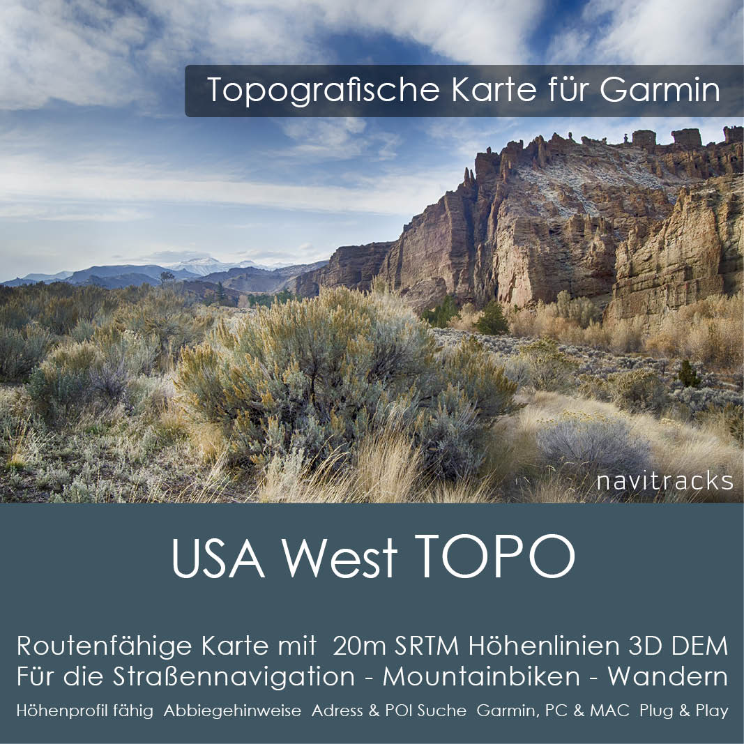 USA West Topo GPS Karte Garmin (Download)