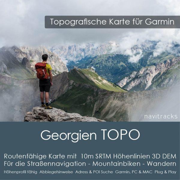 Georgien Topo GPS Karte Garmin mit 10m SRTM Höhelinien (Download)