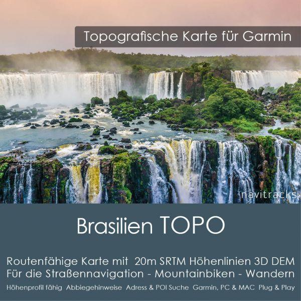Brasilien Topo GPS Karte Garmin mit 20m SRTM DEM Höhelinien (Download)