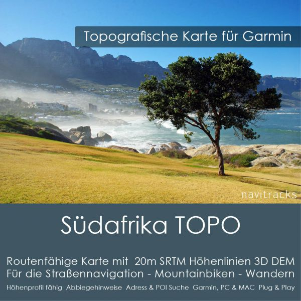 Südafrika Topo GPS Karte Garmin 20m SRTM Höhelinien (Download)