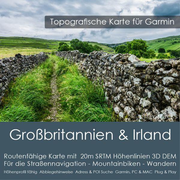 Grossbritannien & Irland Topo GPS Karte Garmin 20m SRTM Höhenlinien (8GB microSD Karte)