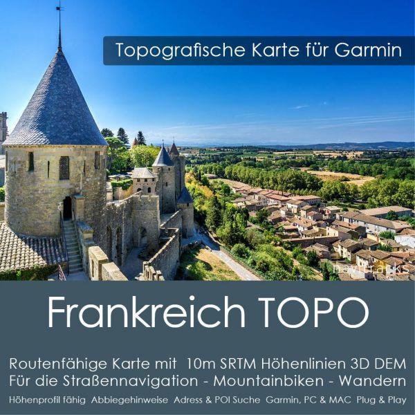 Frankreichh Topo GPS Karte Garmin mit 10m SRTM Höhenlinien (Download)