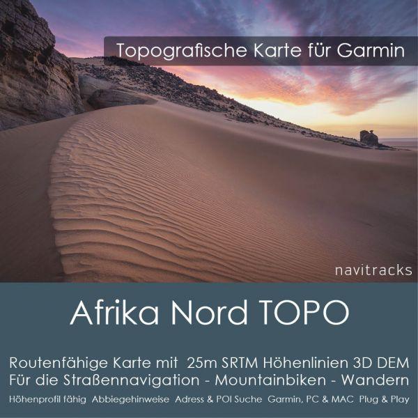 Afrika Nord Topo GPS Karte Garmin 25m SRTM Höhelinien (Download)