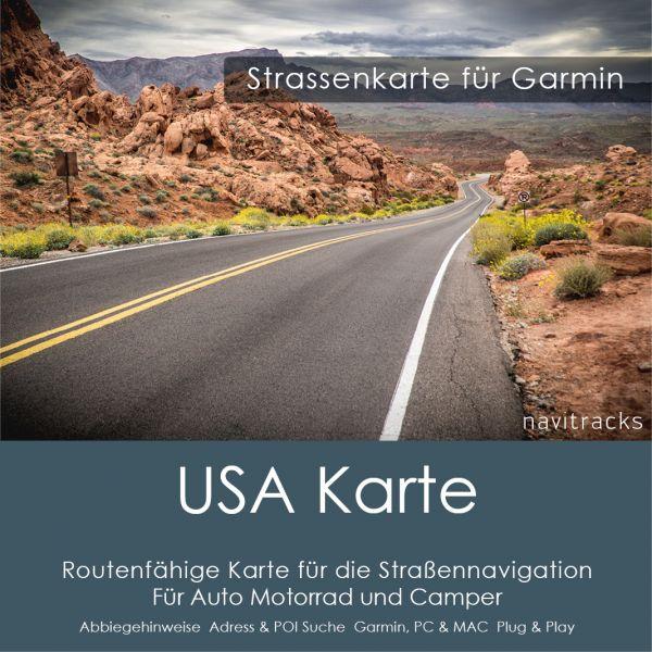 USA Nordamerika Vereinigte Staaten von Amerika Garmin Strassenkarte für Auto, Motorrad, Wohnmobil Navigation Download